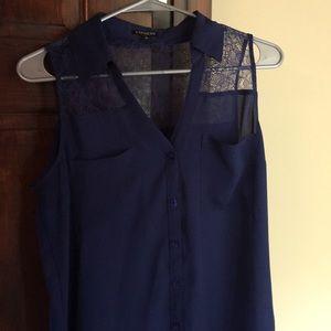 Express sleeveless navy blue top size medium